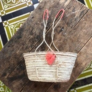 Sézane straw coral tassel Summer Panier bag